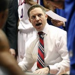 Mar 14, 2014; El Paso, TX, USA; Louisiana Tech Bulldogs head coach Michael White speaks to his team during a timeout against the Southern Miss Golden Eagles in the semifinals of the Conference USA college basketball tournament at Don Haskins Center. The Bulldogs defeated the Golden Eagles 88-70. Mandatory Credit: Ivan Pierre Aguirre-USA TODAY Sports