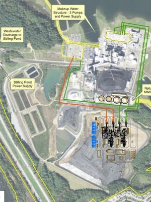 A proposed Duke Energy natural gas plant at Lake Julian would sit atop the site's 1982 coal ash basin, just south of the existing coal plant, which would be demolished under the plan.