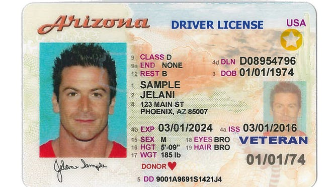 "This is an example of what the new Arizona driver's license will look like. The Voluntary Travel ID puts Arizona in compliance with a federal law that requires a ""secure ID"" to board commercial flights as of October 2020, as well as access various federal buildings."