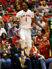 Iowa State forward Jameel McKay (1) reacts as they call goes for Baylor Saturday, Jan. 9, 2016 during their 94-89 loss at Hilton Coliseum in Ames.