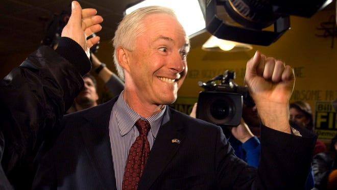 Connecticut Sen. Bill Finch (D.) reacts after winning his bid for Mayor of Bridgeport, Conn.  Tuesday Nov. 6 2007 in Bridgeport, Conn.