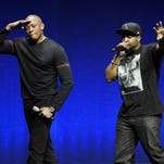 """Former N.W.A members Dr. Dre, left, and Ice Cube are two of the subjects of the biopic """"Straight Outta Compton,"""" which has resurrected debate about N.W.A's lyrics and representations of women."""