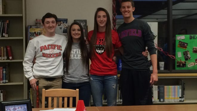 Sprague's Griffin Fraser, from left; Rachel Harvey; Maggie Boles; and Austin Brown have committed to play in college.