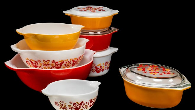 Pyrex bowls and casserole dishes.