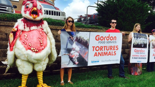 Steven Litrov acts as Abby, the abused chicken, next to protestors Chandler Eckert (left), Kevin Smith and Tricia Lebkuecher outside the Gordon Food Service store in Goodlettsville on Monday.