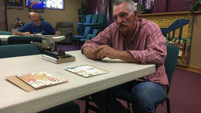David Benda/Record SearchlightDeacon Robert Nichols talks about the loss of Timothy Moore, pastor at Church of The Redeemed in Redding. Moore, who was killed in a vehicle wreck Monday morning in Palo Cedro, established the church more than 20 years ago.