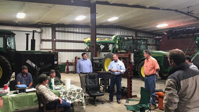 Rep. Matt Caldwell speaks to Northwest Florida farmers about his campaign to become Florida's Commissioner of Agriculture.