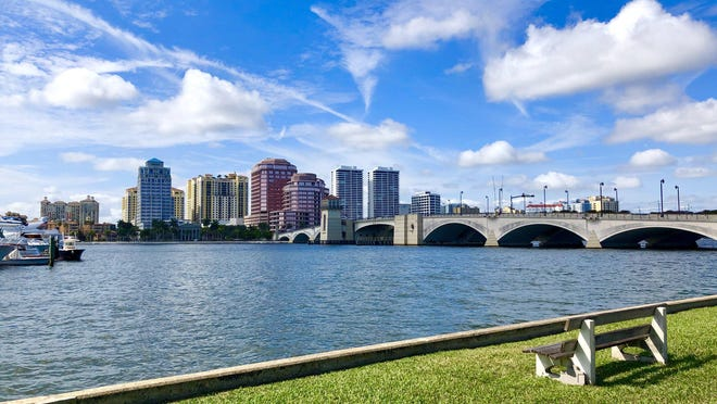Lakeside Park overlooks the lagoon, Royal Park Bridge and downtown West Palm Beach.