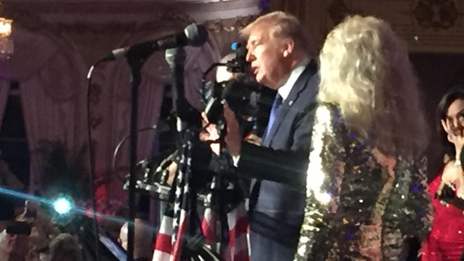 President Trump speaks at the Trumpettes gala at Mar-a-Lago Saturday night.