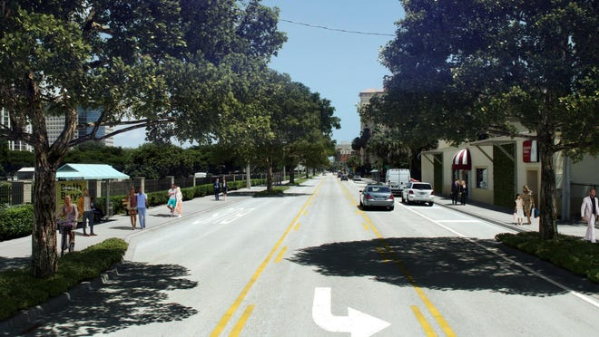 South Dixie Highway, as redesign was to have looked near the Norton Museum: two travel lanes instead of four.