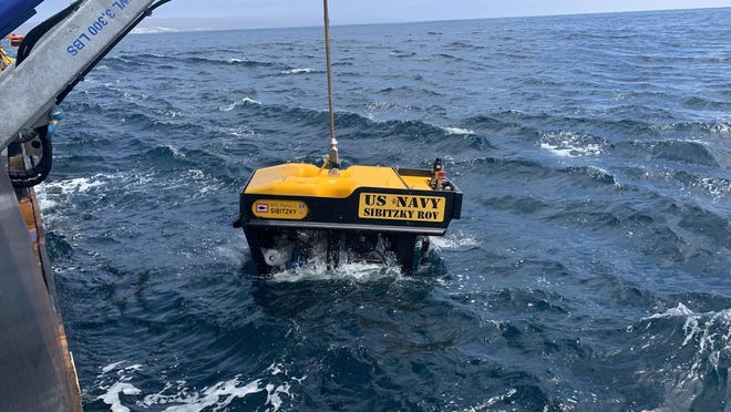 Undersea Rescue Command deploys the Sibitzky Remotely Operated Vehicle in the Pacific Ocean on August 3, 2020, from the deck of the Military Sealift Command-chartered merchant vessel HOS Dominator.
