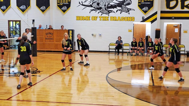 The Bunceton and Prairie Home Lady Dragons keep their on the ball in a recent game.