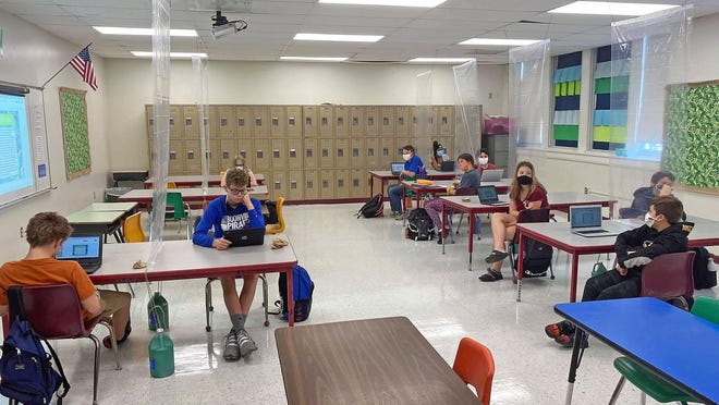 Students at Laura Speed Elliott received updates Tuesday on technology usage, such as Google classroom and other learning apps.