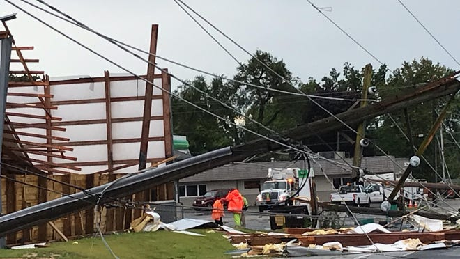 Severe storms with straight-line winds up to 100 mile per hour roared through Forreston on Monday, Aug. 10, 2020, causing damage to buildings, power lines and trees. Five residents were injured and 50 to 100 were displaced.