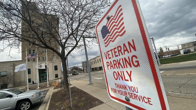 A parking space for veterans only is available at Rockford City Hall.