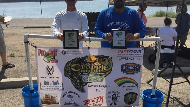 From left, Tony Niemeyer and Ryan German took first place for the second week in a row on Clinton Reservoir during the Kansas Crappie Trail season finale Aug. 22.