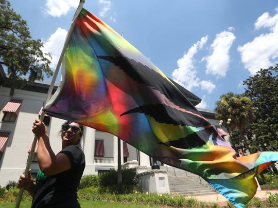 Melissa V Lozano waves a tie-died flag with a marijuana leaf outside of the Florida Capitol Wednesday in protest of the state's ban on smokable medicinal marijuana.