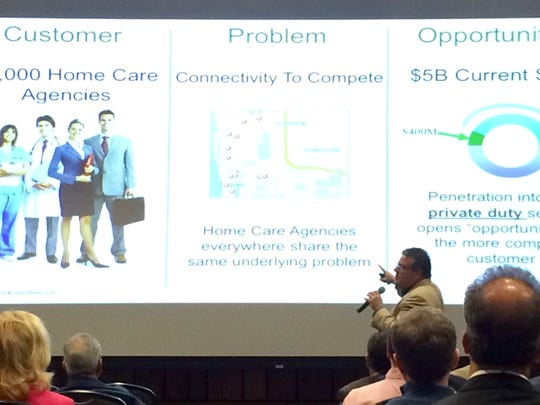 David Gibson, co-founder of Koala Homecare Technologies, speaks at VenturePitch SWFL.