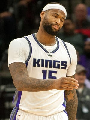 Sacramento Kings forward DeMarcus Cousins (15) reacts to a call during the second quarter of the game against the Chicago Bulls at Golden 1 Center. The Chicago Bulls defeated the Sacramento Kings, 112-107.