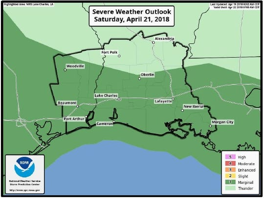 There is a low chance of severe storms in Central Louisiana