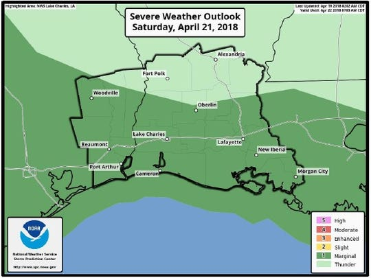 There is a low chance of severe storms in Central Louisiana Saturday night and Sunday.