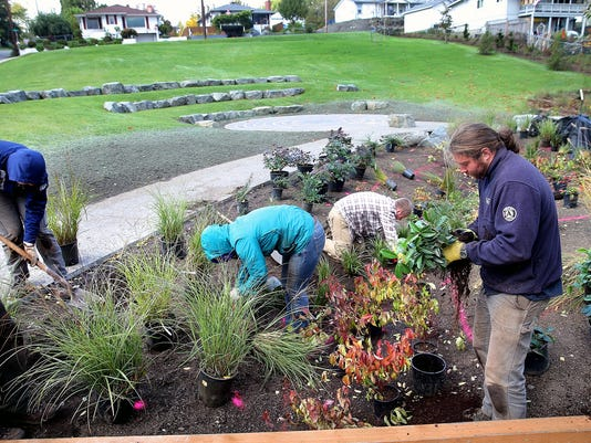 Alex Mesick (right) and a crew from the Puget Sound Corps plant a garden at the Lillian and James Walker Park in West Bremerton. LARRY STEAGALL / KITSAP SUN