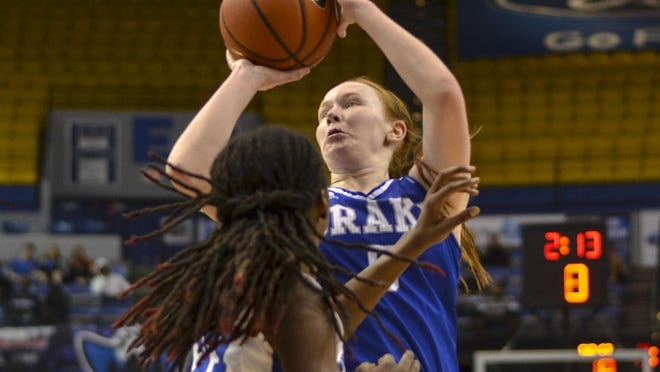 Drake's Becca Hittner shoots over Indiana State's Wendi Bibbins during an NCAA college basketball game Friday, Feb. 17, 2017, in Terre Haute, Ind. (Austen Leake/Tribune-Star via AP)