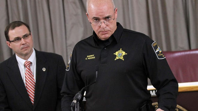 Craven County Sheriff Chip Hughes speaks at a news conference in March.