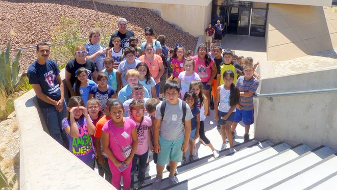 """Students at Bataan Elementary School K-5 Plus Summer Program were treated to an educational field trip to the New Mexico Museum of Space History in Alamogordo. The students had the privilege of touring the museum and viewing """"Journey to Space"""" and """"Black Holes: The Other Side of Infinity,"""" on the world's first Spitz Scidome 4k Laser full dome planetarium projection system in the New Horizon's Dome Theater and Planetarium."""