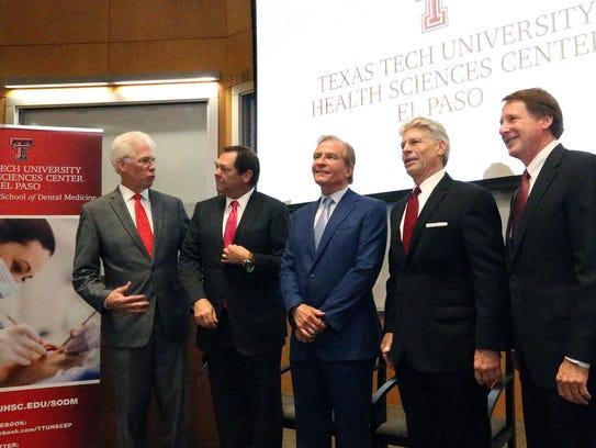 Dr.  Richard Lange, left, president of Texas Tech University