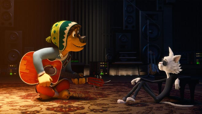 "Bodi (Luke Wilson) and Angus Scattergood (Eddie Izzard) in ""Rock Dog."""