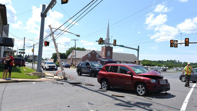 A one-vehicle accident sheared off a light pole on Route 422 at the Mill Street intersection in Cleona Borough on Sunday afternoon, July 29, 2018.