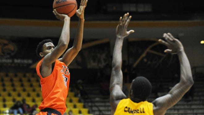 UTEP's Earvin Morris (20) shoots against Southern Mississippi during an NCAA college basketball game Thursday, Jan. 28, 2016, in Hattiesburg, Miss.