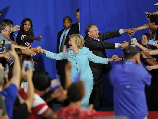 Democratic presidential nominee Hillary Clinton and