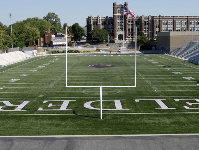 "Elder Stadium is known as ""The Pit"" because it sits at the bottom of a hill in front of the school."