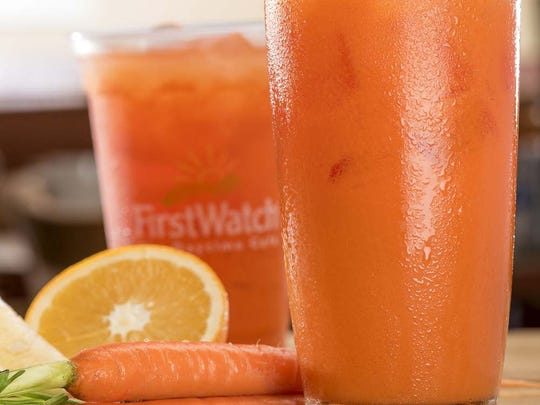 The Day Glow is a fresh juice made with carrots, oranges, lemon and ginger.