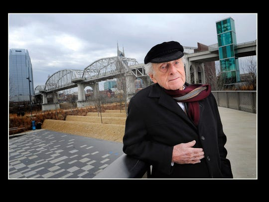 Tennessean Chairman Emeritus John Seigenthaler stood on the pedestrian bridge named for him in February 2014.