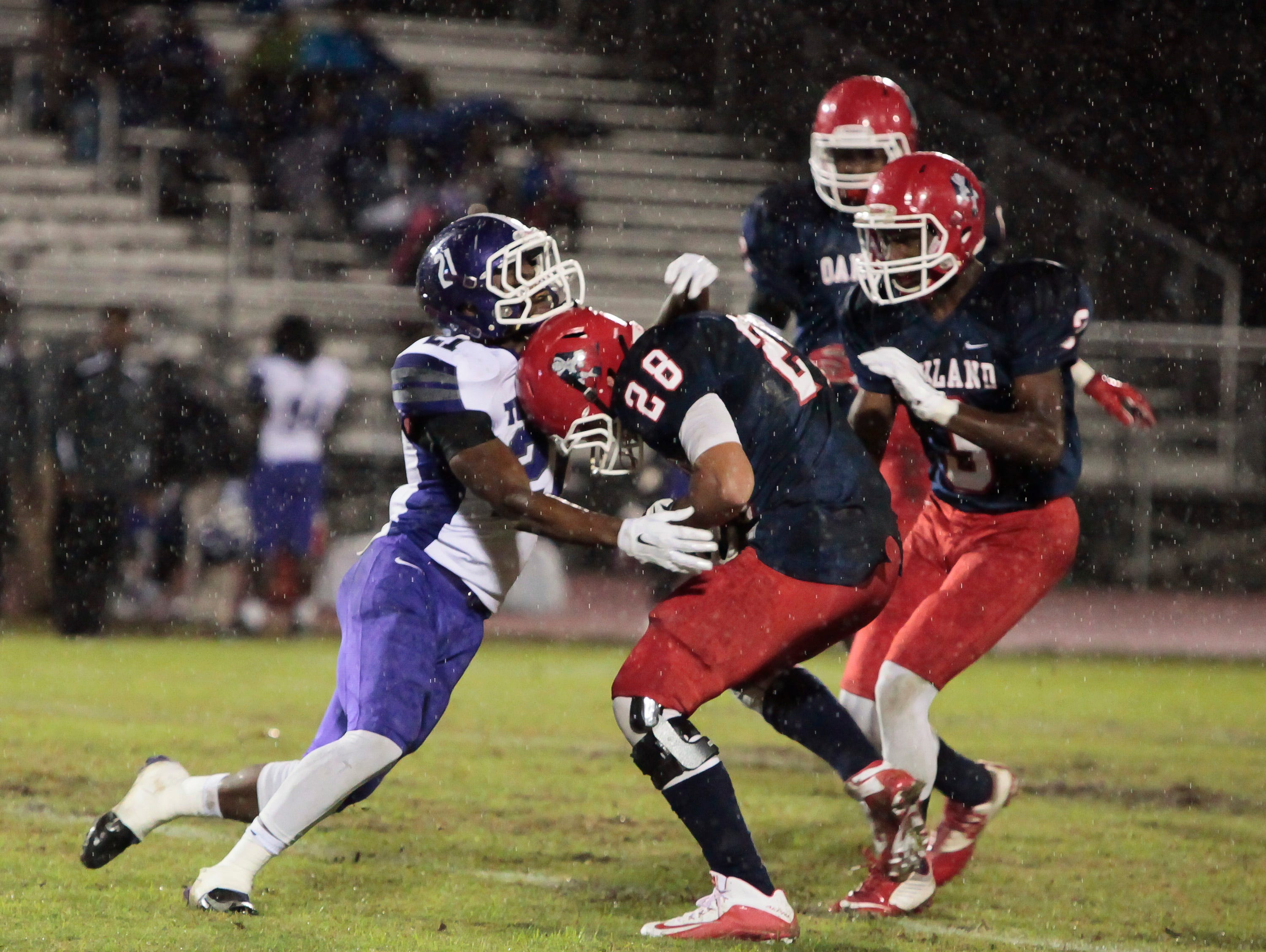 Jackson Cauthen (28) pulls in an interception. Cauthen has 102 tackles this season.