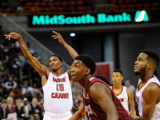 UL's Jay Hedgeman (15) shoots a free throw in the Cajuns'