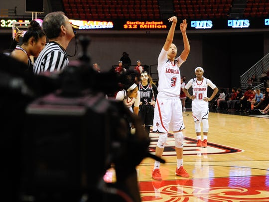 Brianne Cooper shoots a free throw  as the Cajuns take on Troy in an ESPN televised game in the Cajundome. Jan 23, 2016.