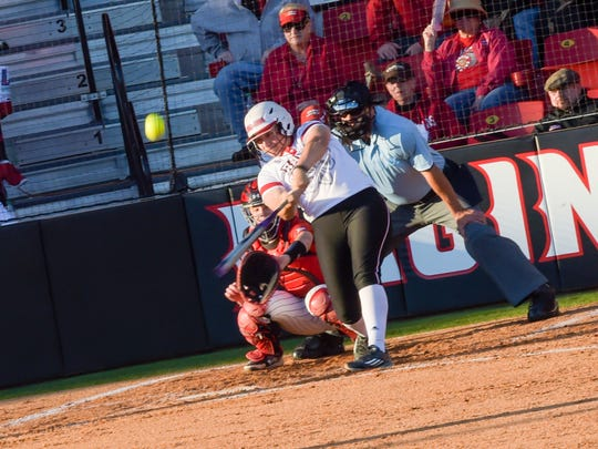 Lexie Elkins at bat hits a solo homerun. Beautiful weather out at Lamson Field as the Cajuns take on Texas Tech. Feb 25, 2016.