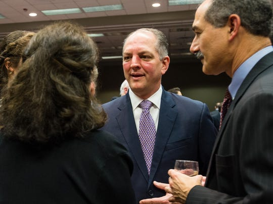 Governor John Bel Edwards visiting with guest at the Political Hall of Fame Banquet at the Cajundome. March 12, 2016.