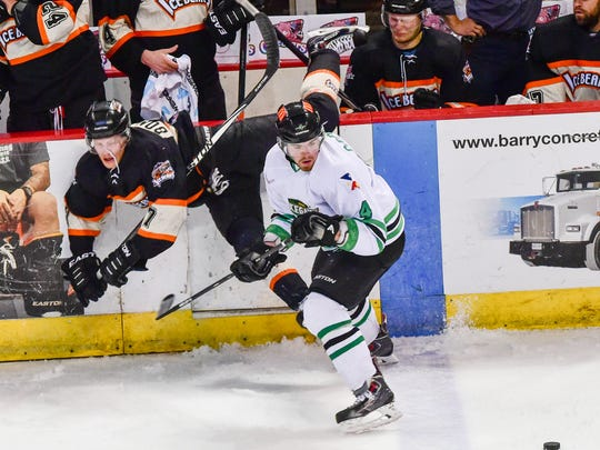 Dan Cornell stand his ground and wins the battle as The IceGators take on the IceBears at the Cajundome. April 8, 2016.