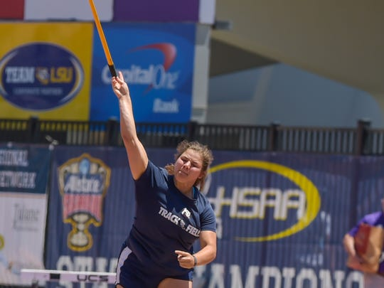 Haley Seymour from STM  throwing the Javelin . The LHSAA Track and Field State Meet at LSU Bernie Moore Stadium.