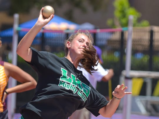Stephanie Self participated in shot put at the LHSAA Track and Field State Meet at LSU Bernie Moore Stadium.