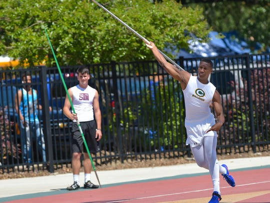 Kenya Dartez-- Boys 4a Javelin Throw.  The LHSAA Track and Field State Meet at LSU Bernie Moore Stadium.