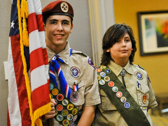 Eaglle Scout Tyler Kelly (L) and Life Scout Noah Kelly