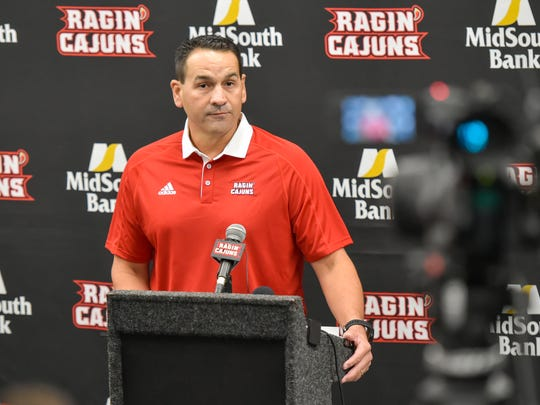UL offensive coordinator Jorge Munoz speaks to media members Wednesday.