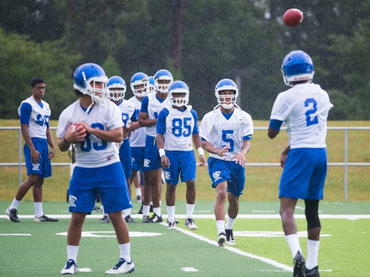 UWF's Marvin Conley (5) shown during an early-season practice, was one of two Argos honored Monday as GSC players of the week in helping lead upset win against Florida Tech.