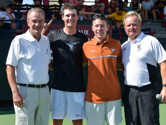 The Louisiana Ragin' Cajuns men's tennis team hosting seven of the top 35 teams in the country in the John Breaux Cajun Tennis Classic at the Culotta Tennis Center. September 23, 2016 (Pictured- Senator John Breaux, Harrison Scott, Coach Bruce Berque and Cajuns Coach Mark Jeffrey)